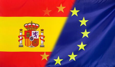 diagonally: Spain and European Union relations concept with diagonally merged real fabric flags Stock Photo