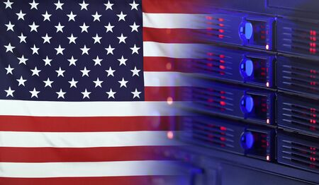 Technology concept consisting of server hardware merging with the Flag of USA for use as local or country internet and hardware security image idea
