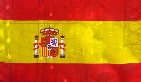 merged: Concept Technology Environment, Flag of Spain merged with technology, high voltage power poles and electrical power plant cooling towers
