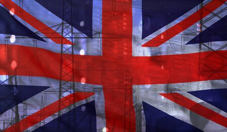 Concept Technology Environment, Flag of Great Britain merged with technology, high voltage power poles and electrical power plant cooling towers Stock Photo
