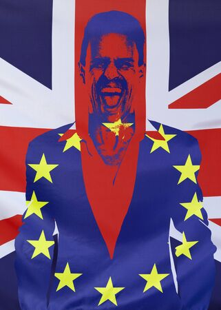 yes or no to euro: Concept United Kingdom and European Union flags combined in the silhouette of a screaming man for the 2016 Brexit referendum in the UK Stock Photo