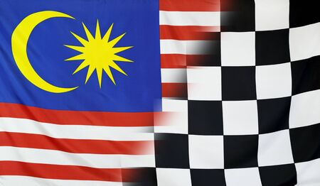 merging: Winning concept consisting of the Malaysia and checkered goal flag merging each other Stock Photo