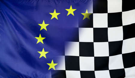 winning concept: Winning concept consisting of the Europe and checkered goal flag merging each other Stock Photo