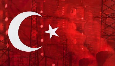 merged: Concept Technology Environment, Flag of Turkey merged with technology, high voltage power poles and electrical power plant cooling towers Stock Photo
