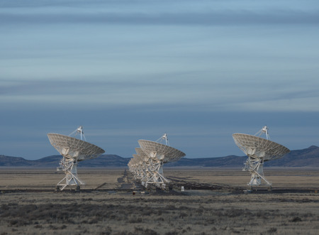 Very Large Array Radio Telescopes dish alignment in New Mexico, USA twiligh