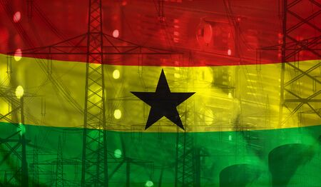 merged: Concept Technology Environment, Flag of Ghana merged with technology, high voltage power poles and electrical power plant cooling towers Stock Photo