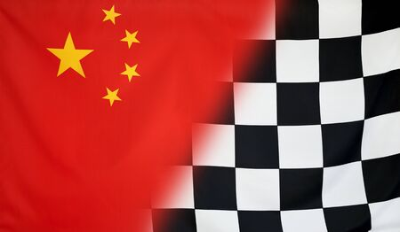 merging: Winning concept consisting of the China and checkered goal flag merging each other