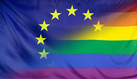 merged: LGBT movement concept with fabric rainbow flag merged with real textile flag of th eEuropean Union Stock Photo