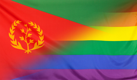 merged: LGBT movement concept with fabric rainbow flag merged with real textile flag of Eritrea