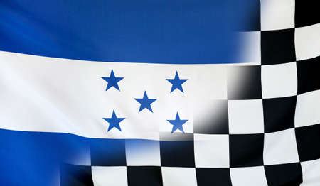 merging: Winning concept consisting of the Honduras and checkered goal flag merging each other