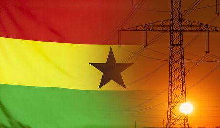 Concept Energy Distribution, Flag of Ghana with high voltage power pole during sunset
