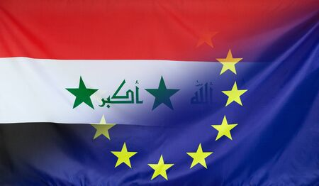diagonally: Iraq and European Union relations concept with diagonally merged real fabric flags Stock Photo