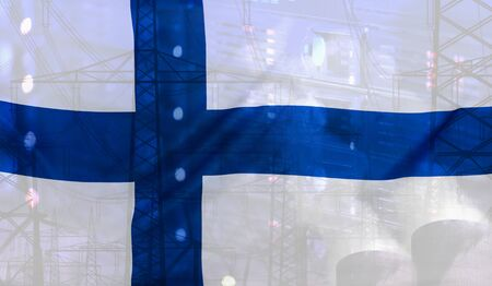 merged: Concept Technology Environment, Flag of Finland merged with technology, high voltage power poles and electrical power plant cooling towers
