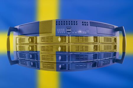 Concept Server with the Flag of Sweden for use as local or country internet and hardware security image idea Stock Photo