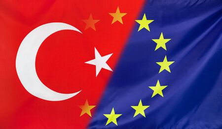 merged: Turkey and European Union relations concept with diagonally merged real fabric flags
