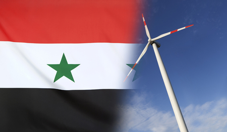 merged: Concept clean energy with flag of Syria merged with wind turbine in a blue sunny sky Stock Photo