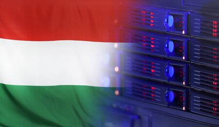 merging: Technology concept consisting of server hardware merging with the Flag of Hungary for use as local or country internet and hardware security image idea