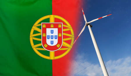 merged: Concept clean energy with flag of Portugal merged with wind turbine in a blue sunny sky