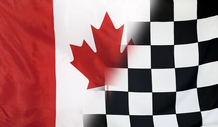 winning concept: Winning concept consisting of the Canada and checkered goal flag merging each other