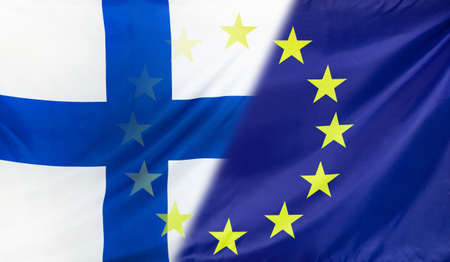 merged: Finland and European Union relations concept with diagonally merged real fabric flags Stock Photo