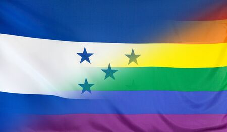 merged: LGBT movement concept with fabric rainbow flag merged with real textile flag of Honduras