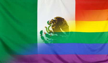 LGBT movement concept with fabric rainbow flag merged with real textile flag of Mexico