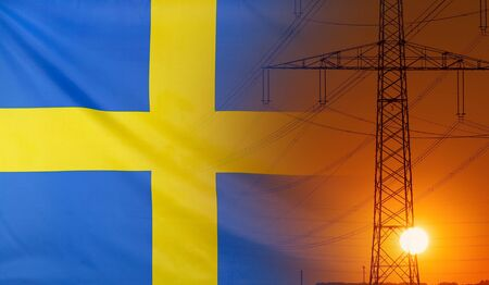 Concept Energy Distribution, Flag of Sweden with high voltage power pole during sunset
