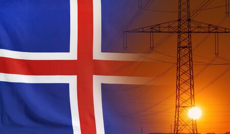 Concept Energy Distribution, Flag of Iceland with high voltage power pole during sunset