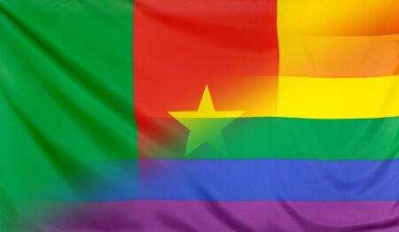cameroonian: LGBT movement concept with fabric rainbow flag merged with real textile flag of Cameroon
