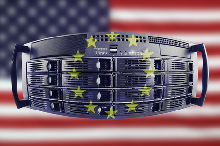 Concept Server with the Flags of Europe and USA for use as country or european internet and hardware security image idea Stock Photo