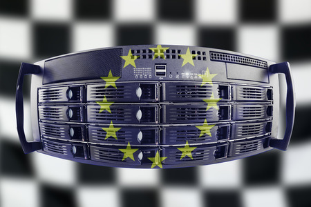 Concept Server with the european and finish flag for use as european internet and hardware security image idea