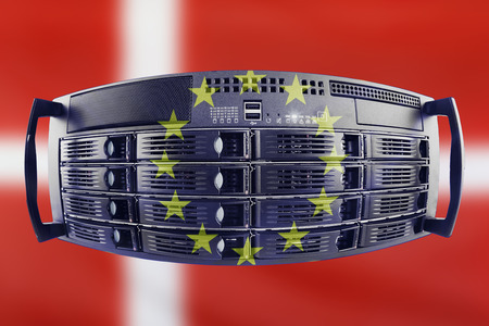 Concept Server with the Flags of Europe and Denmark for use as country or european internet and hardware security image idea