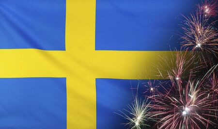 Textile flag of Sweden with firework seamless close up with wind waves in the real fabric