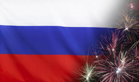 Textile flag of Russia with firework seamless close up with wind waves in the real fabric Standard-Bild