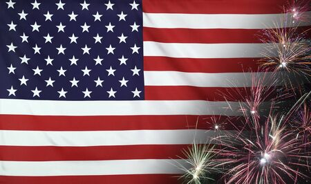Textile flag of USA with firework seamless close up with wind waves in the real fabric  Stock Photo