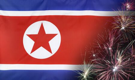 Textile flag of North Korea with firework seamless close up with wind waves in the real fabric