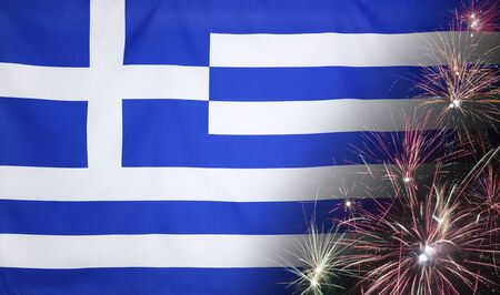 Textile flag of Greece with firework seamless close up with wind waves in the real fabric