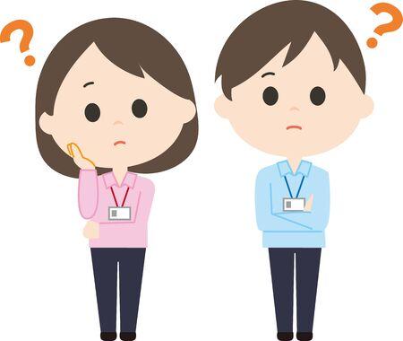 Men's and Women Staff Questions Vectores