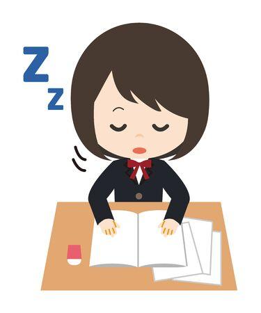 Schoolgirl Dozing Study