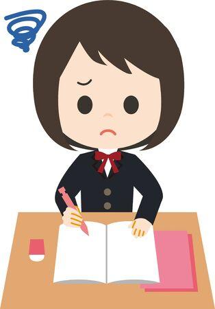 Schoolgirl Study I Don't Know 矢量图像