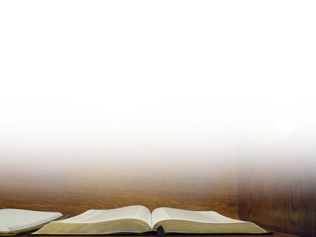 pew:           Open Bible on Church Pew Background