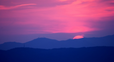 profile of the mountains at sunset Stock Photo