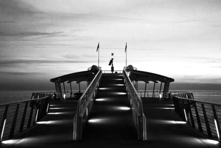 lido di camaiore dock in black and white