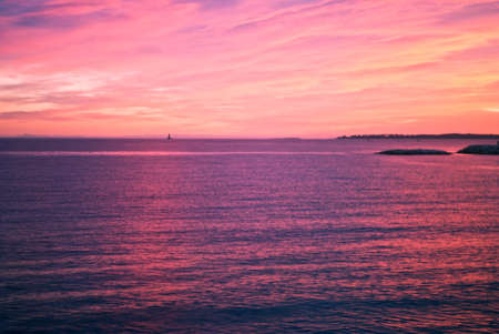 pink sunset over the sea Stock Photo