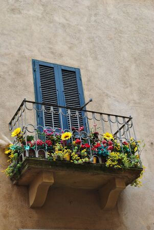 balconies of many colors Stock Photo