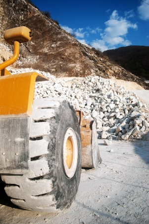 bulldozer at work in the quarry Stock Photo