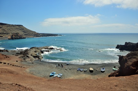 boats ready to sail to El Golfo Lanzarote Canary Islands photo