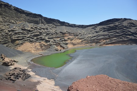 golfo: El Golfo on a beautiful sunny day in Lanzarote in the Canary Islands