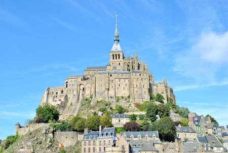 mont saint michel: Mont Saint Michel on a sunny day Stock Photo