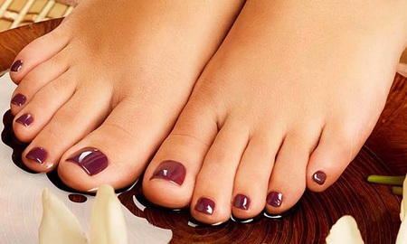 fetishism: feet with nail polish Stock Photo